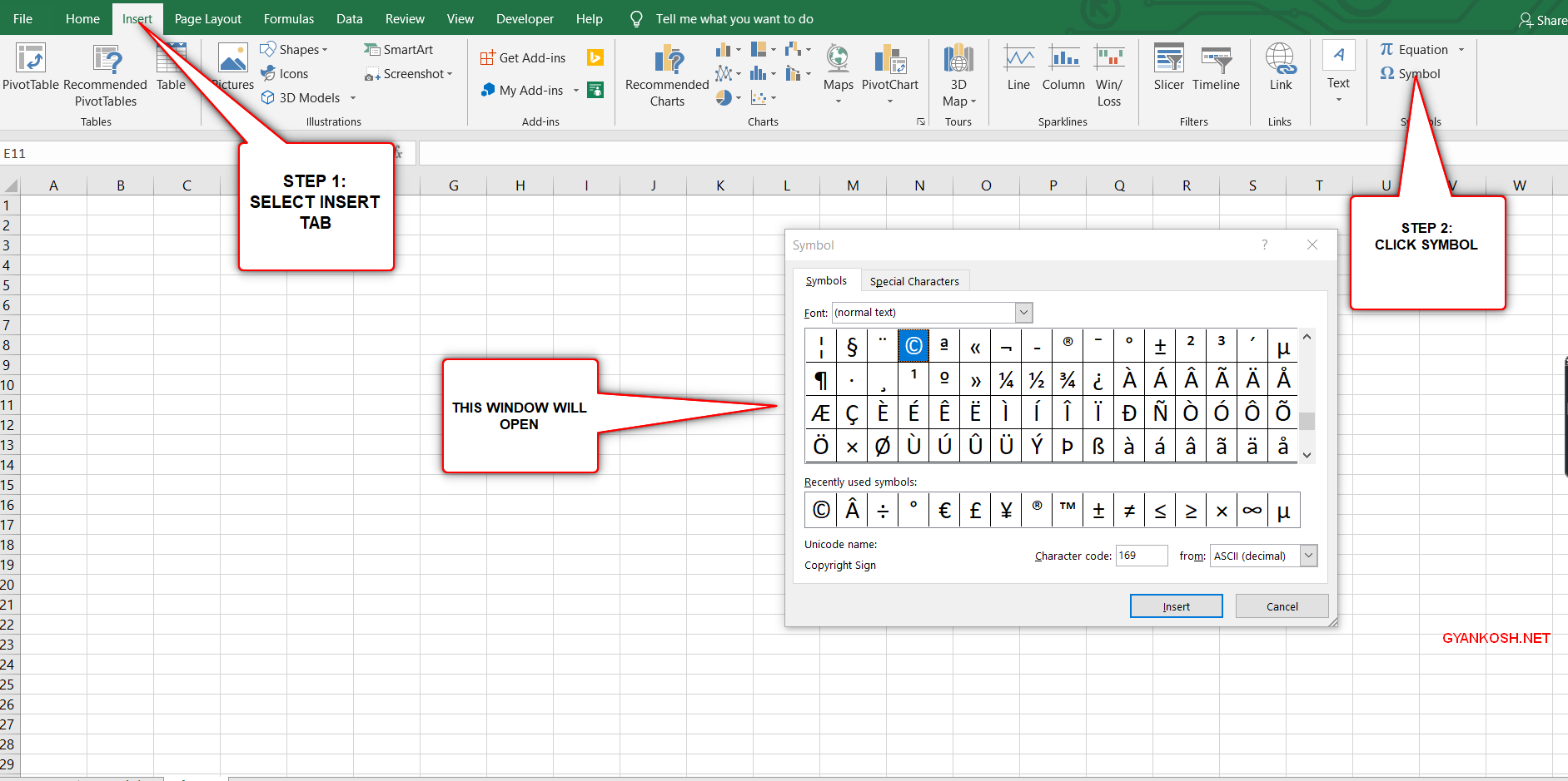 insert copyright link easily in excel